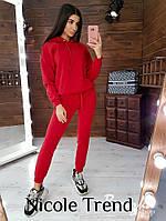 Женский зимний осенний теплый спортивный костюм на флисе черный красный меланж хаки фрез марсала 42-44 44-46, фото 1