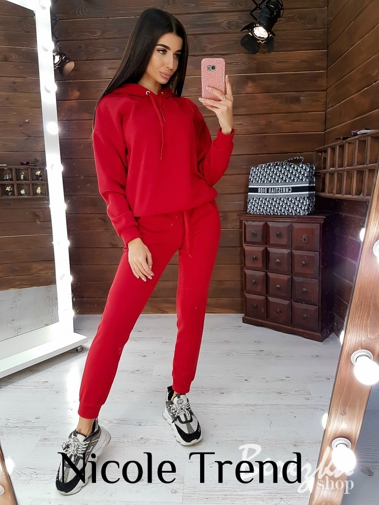 Женский зимний осенний теплый спортивный костюм на флисе черный красный меланж хаки фрез марсала 42-44 44-46