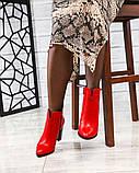 Ботильоны женские кожаные красные, фото 3