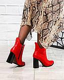 Ботильоны женские кожаные красные, фото 2