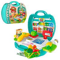 Магазин 8314 (36шт) касса. продукты, корзинка, 23 предмета, в чемодане, 22-22-10см