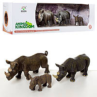 Животные X1027 (18шт) носорог, 3шт (от 6 до 15см), в кор-ке, 38,5-11,5-10,5см