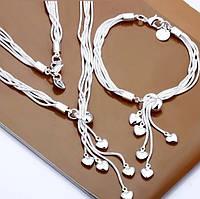 "Комплект бижутерии в стиле Tiffany & Co ""Пять сердец"""