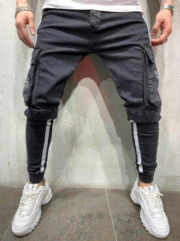 Мужские стильные джинсы (черные) - Турция