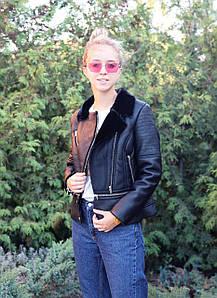 Короткая черная кожаная куртка-авиатор на меху 42-46 р