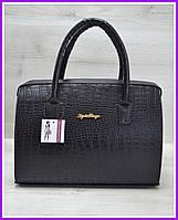 Женская сумка стильная, модная женская сумка, каркасная женская сумка черного цвета по рептилию