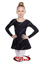 Детский гимнастический купальник с юбкой, черный GM030115 (бифлекс, р-р 1-M, рост 98-134см)