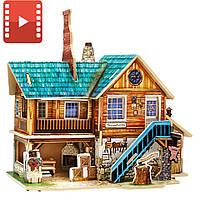 Деревянный 3D домик конструктор «Мастерская. Америка» Robotime