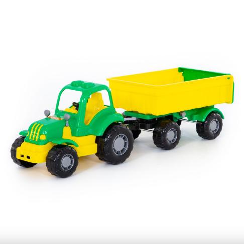 Игрушечный трактор с прицепом.Игрушка трактор для детей.