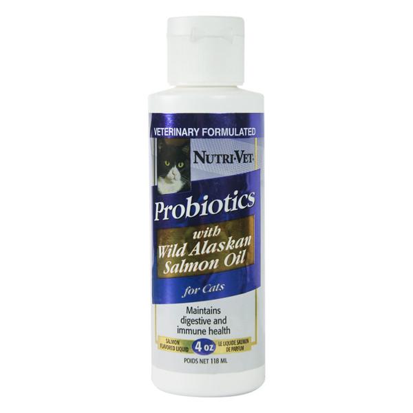 Пробиотики с маслом лосося добавка для кошек Nutri-Vet Probiotics Salmon Oil 118 мл
