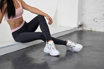 Белые кожаные кроссовки с силиконовыми вставками VIFFEST