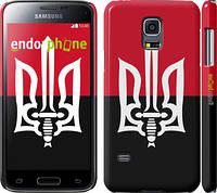 """Чехол на Samsung Galaxy S5 mini G800H Чорно-червоний прапор з тризубом """"1170c-44"""""""