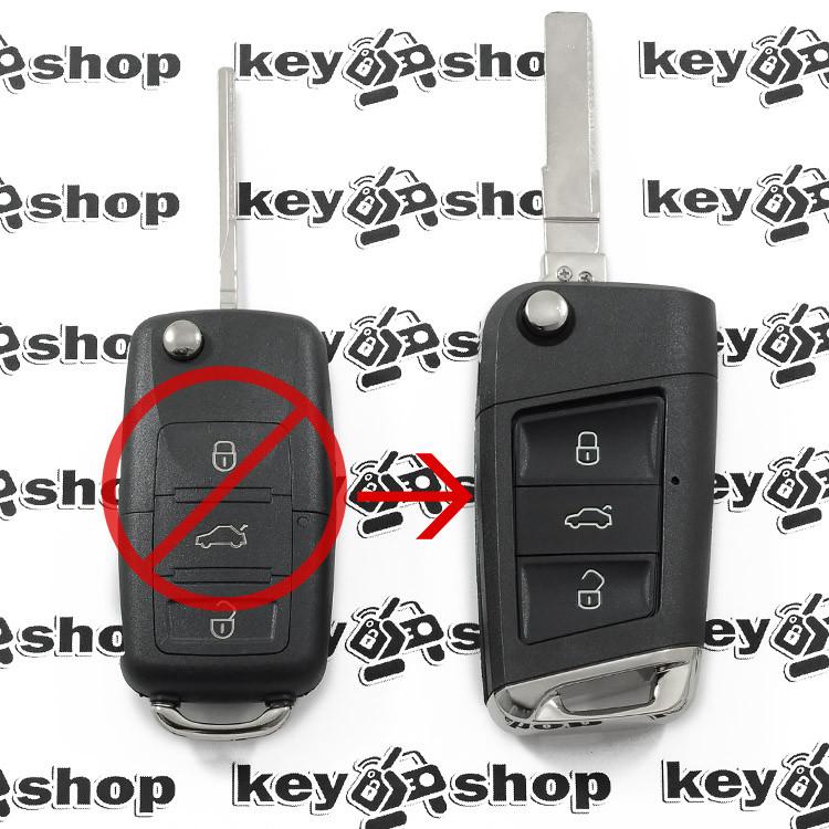 Ключ Volkswagen (корпус Фольксваген) - 3 кнопки, лезвие HU 66 (Под переделку)