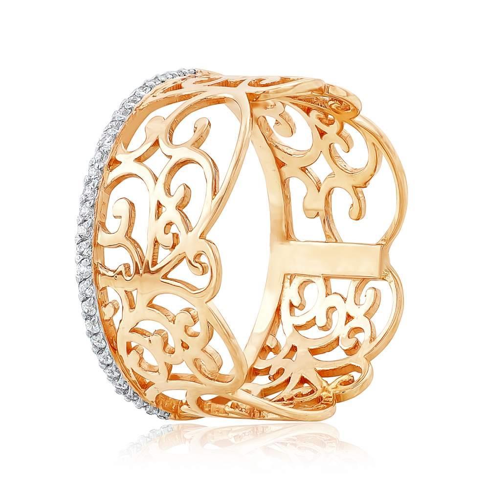 """Кольцо с цирконами """"Юг"""", комбинированное золото, КД0513 Eurogold"""