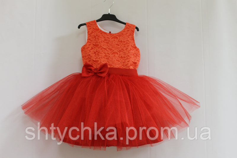 Нарядное платье на девочку коррал  с красным №41