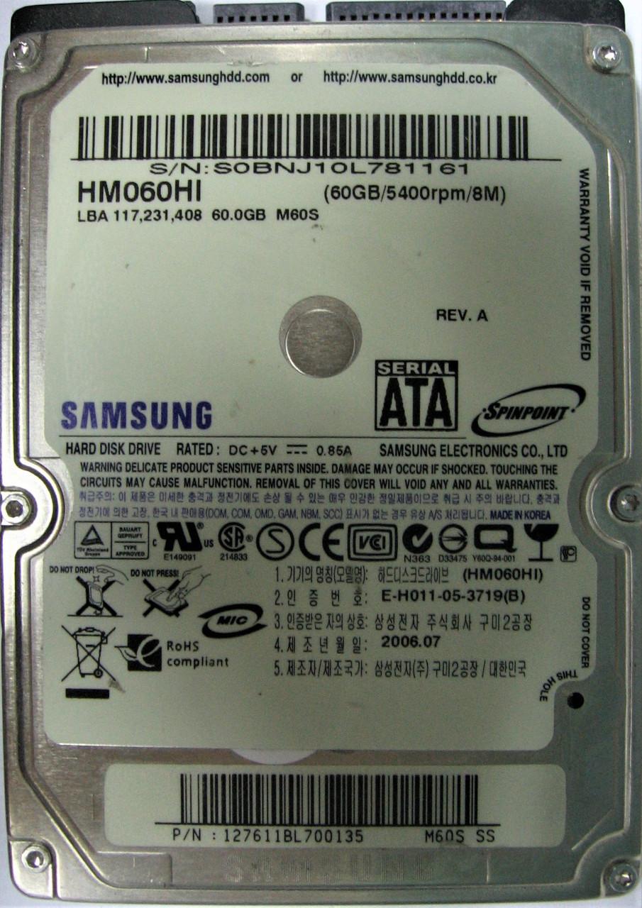 Жесткий диск HDD 60GB 5400rpm 8MB SATA 2.5 Samsung HM060HI S0BNJ10L781161