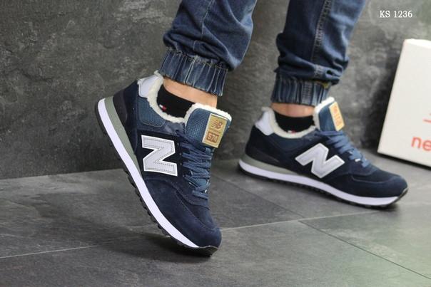 Чоловічі кросівки New Balance 574 (сині) ЗИМА