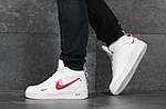 Мужские кроссовки Nike Air Force (бело-красные) ЗИМА, фото 3