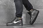 Мужские кроссовки Nike Air Force (черно-белые) ЗИМА, фото 3