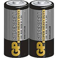 Батарейка GP SUPERCELL 1.5V, 13S-S2, R20, D солевая, цена за уп. 2шт (007972)