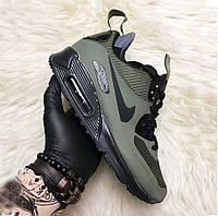 Nike Air Max 90 Hyperfuse Mid Winter Khaki | термо кроссовки; мужские; хаки; зимние