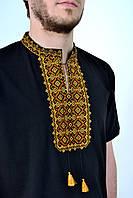 Мужская вышиванка с коротким рукавом машинная вышивка