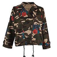 Курточка женская милитари с цветочным принтом короткая осенняя опт