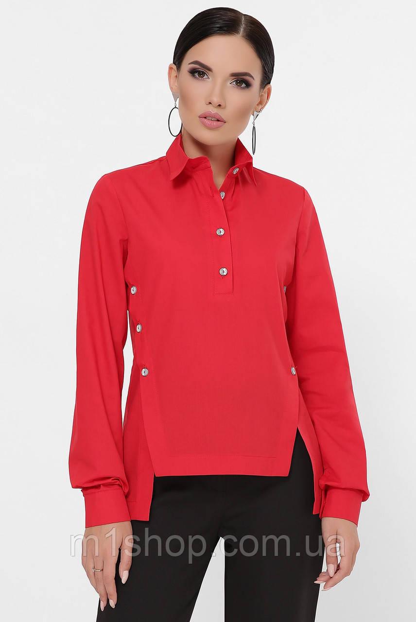 Женская однотонная асимметричная рубашка (Olga fup)