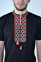 Черная мужская вышиванка с коротким рукавом машинная вышивка