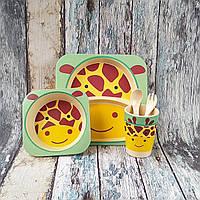 """Детская посуда для кормления из бамбука """"Жираф"""", фото 1"""