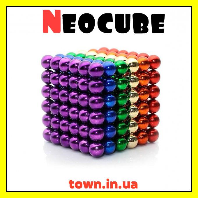 Конструктор головоломка Neocube Радуга 216 неодимовых шариков в боксе магнитный нео куб цветной 5мм