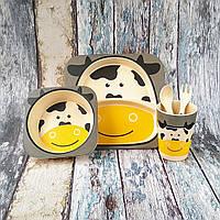 """Детская посуда для кормления из бамбука """"Коровка"""", фото 1"""