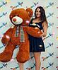 """Медведь """"Бруно"""", коричнево-красный, 140см (MB165SM-коричнево-красн)"""
