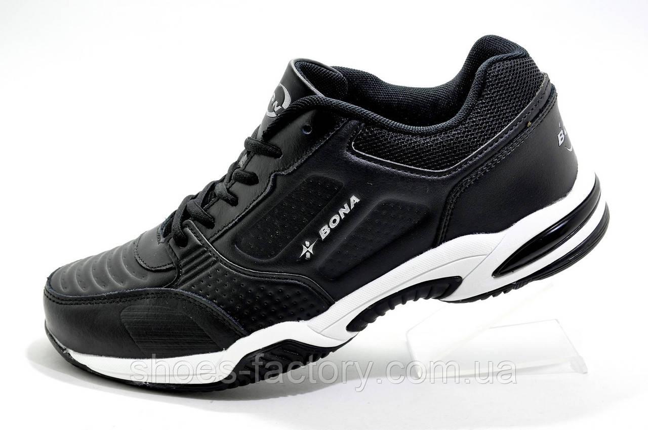 Кожаные мужские кроссовки Bona, Black\White (Бона)