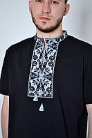 Черная мужская трикотажная футболка-вышиванка