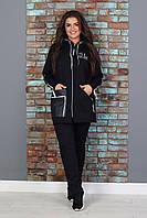Женский теплый трикотажный костюм  больших размеров с удлиненной курткой  сезон зима (357)