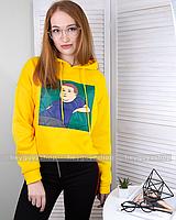Худи  оверсайз объемный желтый свитшот с принтом рисунком в корейском стиле