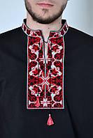 Черная мужская трикотажная вышиванка с коротким рукавом машинная вышивка