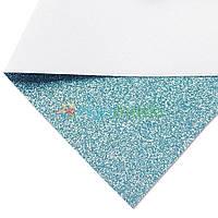 Кожзам с мелкими блестками АКВАМАРИН, 20х27 см, Китай, фото 1