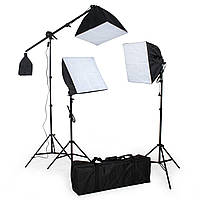 3 студийных лампы в комплекте с софтбоксом, треногой и сумкой