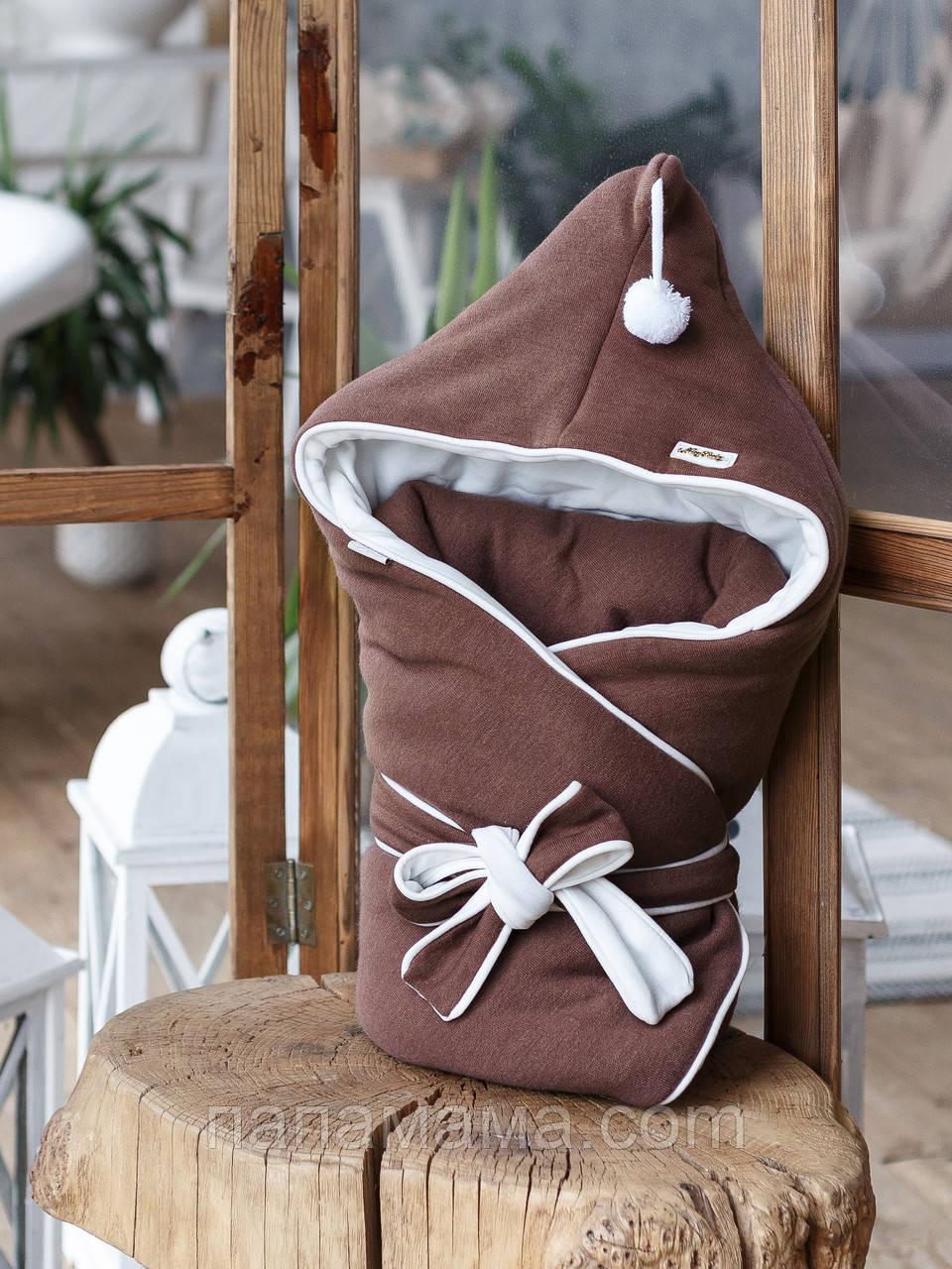 """Конверт-одеяло """"Гномик"""", на трикотаже, коричневый каштан"""