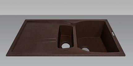 Гранитная мойка для кухни 98*50*23 см ADAMANT New Line plus (коричневый), фото 2