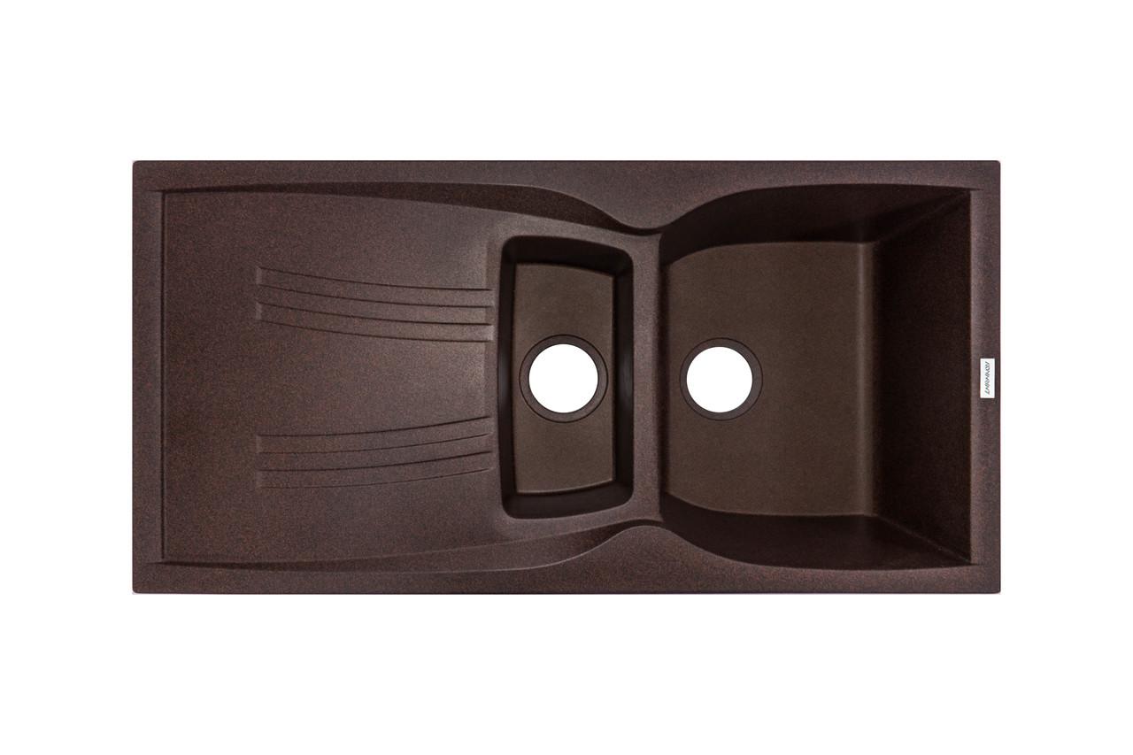 Гранитная мойка для кухни 98*50*23 см ADAMANT New Line plus (коричневый)