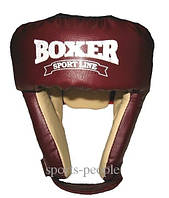Шолом боксерський/для боксу BOXER, зверху шнурівка, шкіра, різном. кольори, L, фото 1