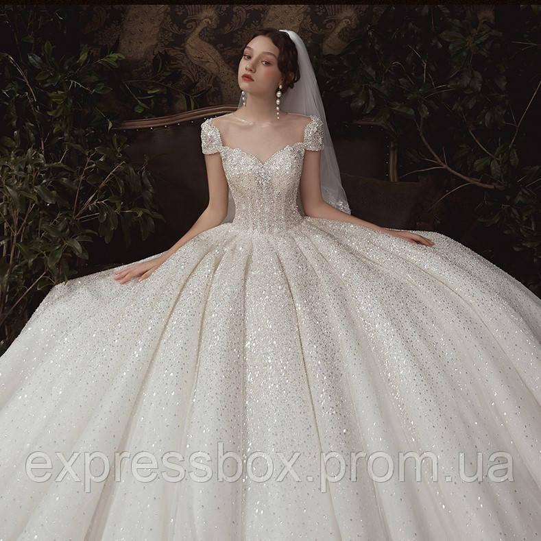 Свадебное платье расшито с кружевом блестящие. Колекция 2020. Весільна сукня пишна нова колекція.