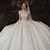 Свадебное платье расшито с кружевом блестящие. Колекция 2020. Весільна сукня пишна нова колекція., фото 1