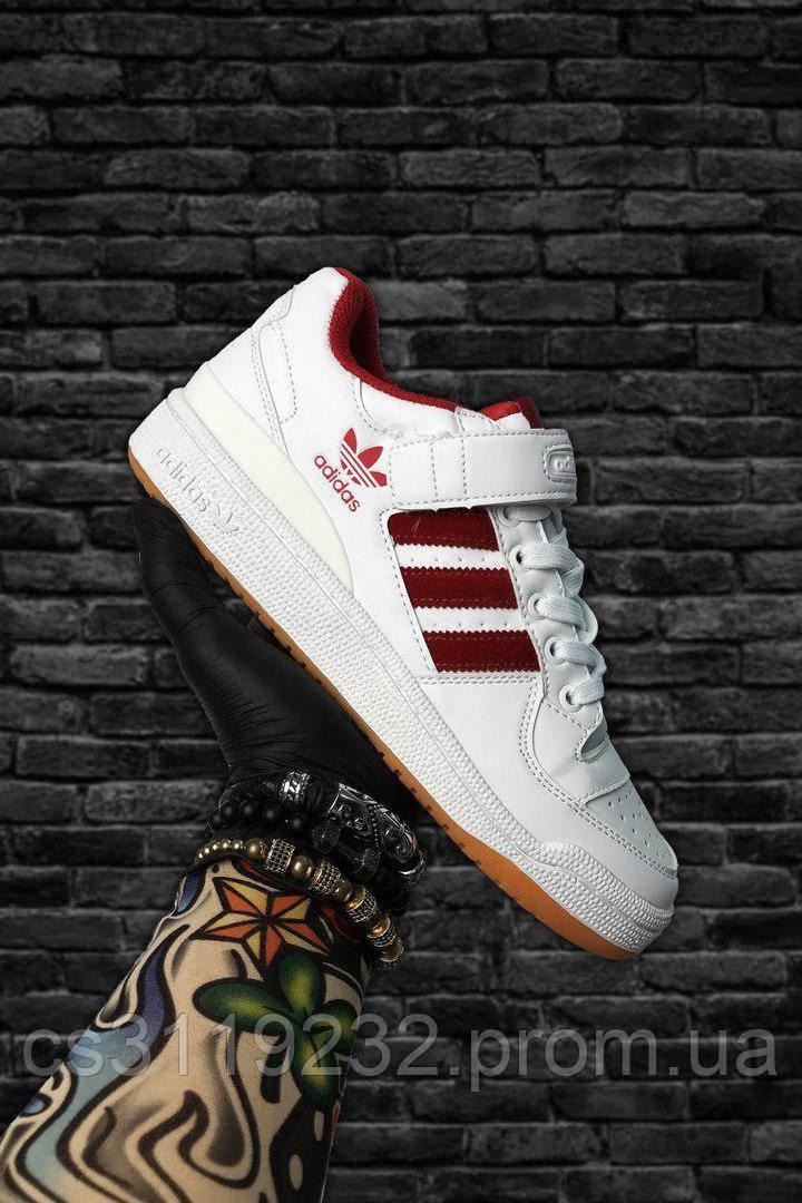 Мужские кроссовки Adidas Forum Mid White Red (белые)