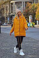 Двусторонняя женская куртка из плащевой ткани с пропиткой, синтепоном 200, с капюшоном, кнопками антик (42-58)