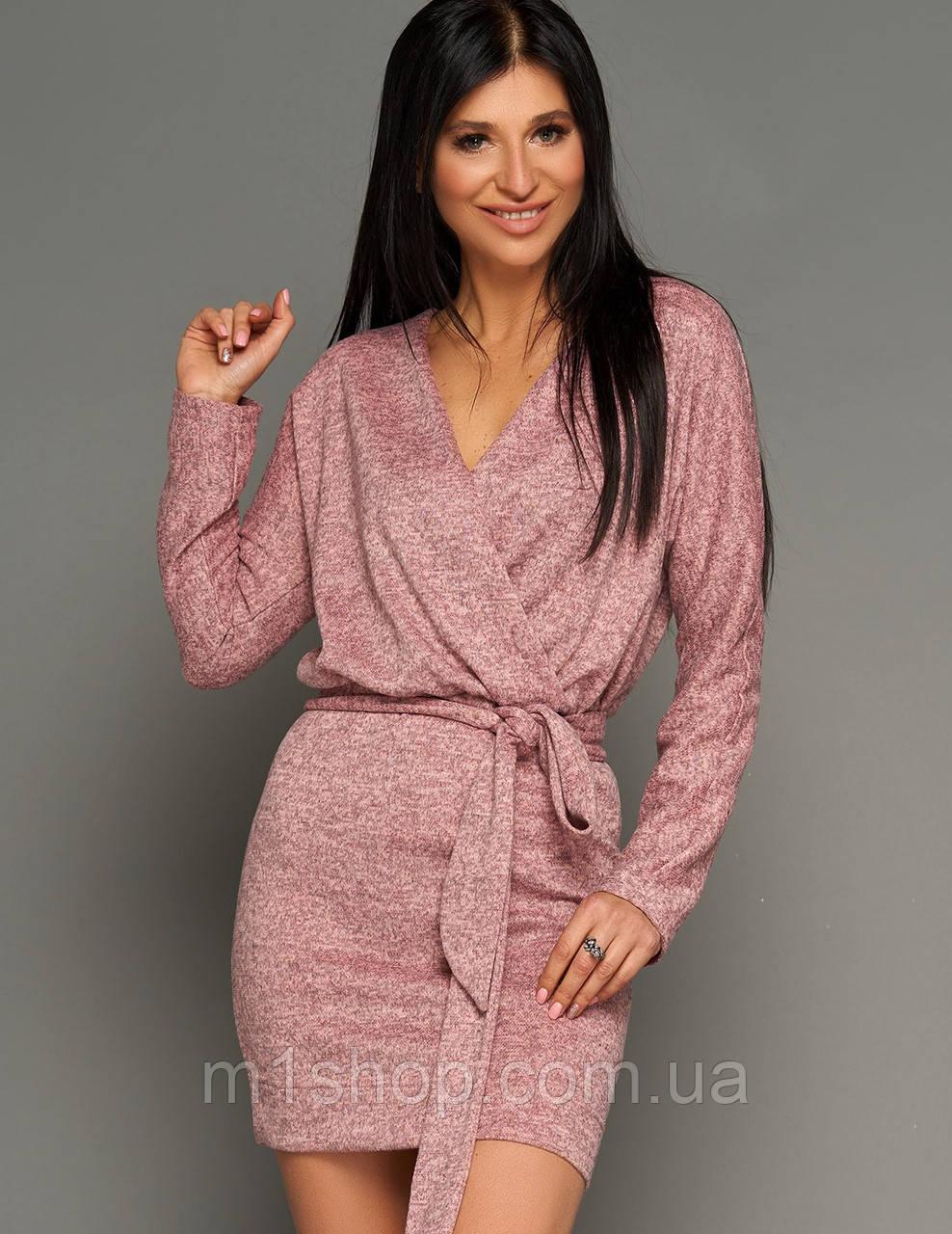 Женское короткое меланжевое платье из ангоры (Эльзаjd)