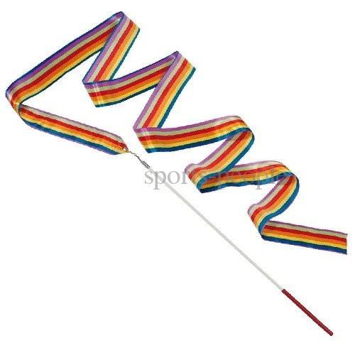 Лента гимнастическая, с палочкой и карабином, L=6 м, разн. цвета.
